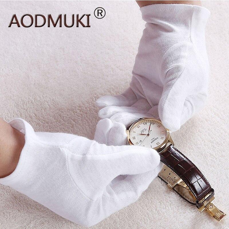 Reutilizável 12 Pares de Algodão Luvas de Trabalho de Segurança Fina Mão Seca Hidratante Cosméticos Eczema Mão Luvas de Inspeção de Jóias Moeda
