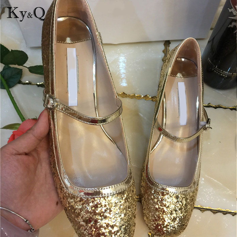 Luxury Sequins Med Heels Weeding Pump Women 2018 Summer Fashion Square Toe Buckle Strap Lady Sandals Female Party Holiday Shoes