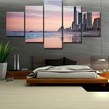 Framed 5 Piece HD Print Painting City Meets The Beach Cuadros Landscape Canvas Wall Art Home Decor For Living Room Picture
