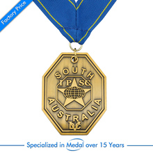 custom antique bronze medals cheap Commemorative medal with blue ribbons high quality made metal