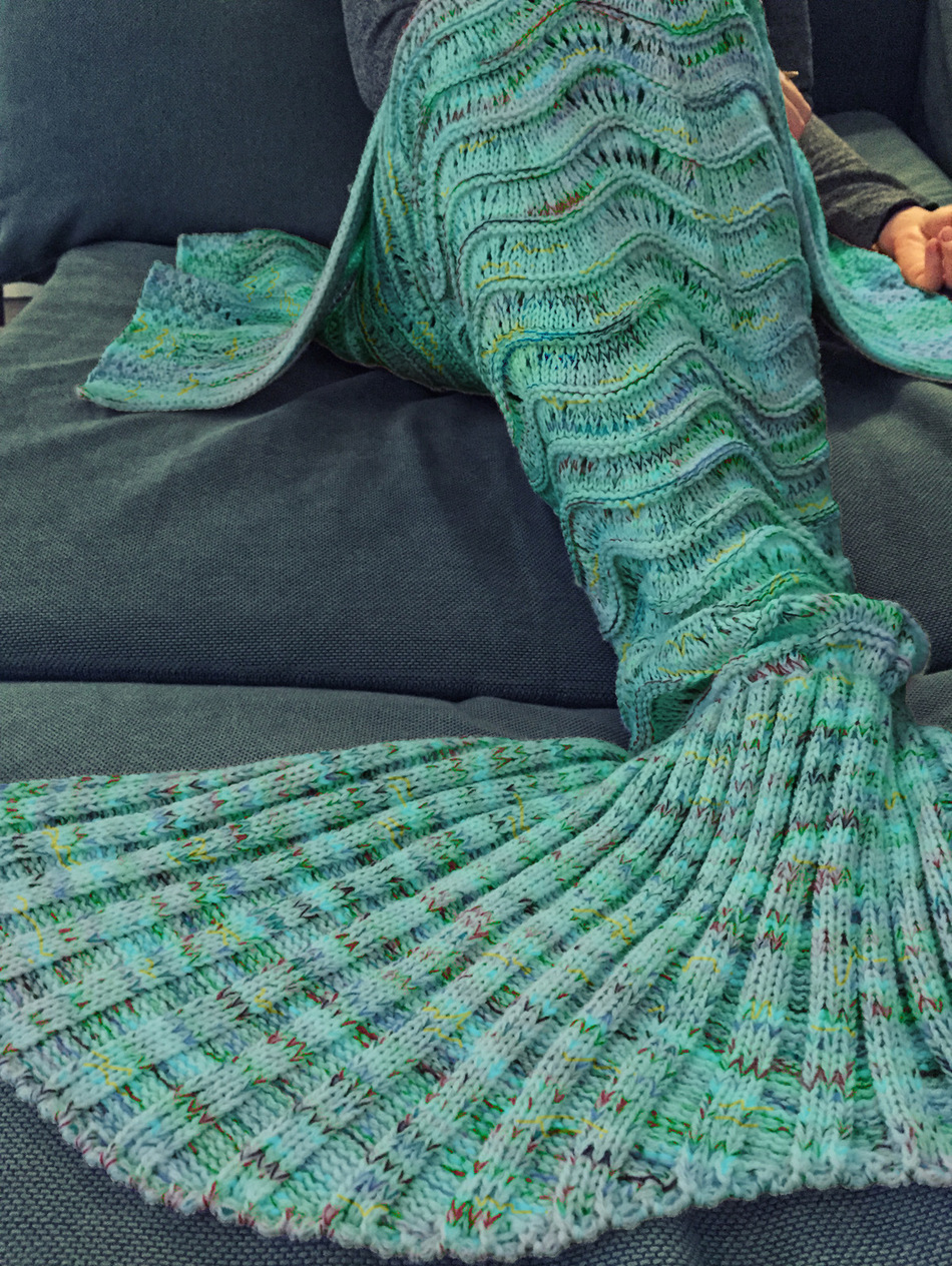 CAMMITEVER 180x90cm Wave Mermaid Tail Blankets Soft Sleeping Bed Handmade Anti Pilling Portable Blanket For Autumn in Blankets from Home Garden