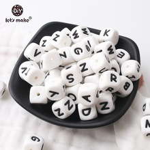 Lassen sie Machen 500 stücke Alphabet Buchstaben 12mm Food Grade Silikon DIY Zahnen Halskette 26 Buchstaben BPA FREI Silikon beißring Perlen