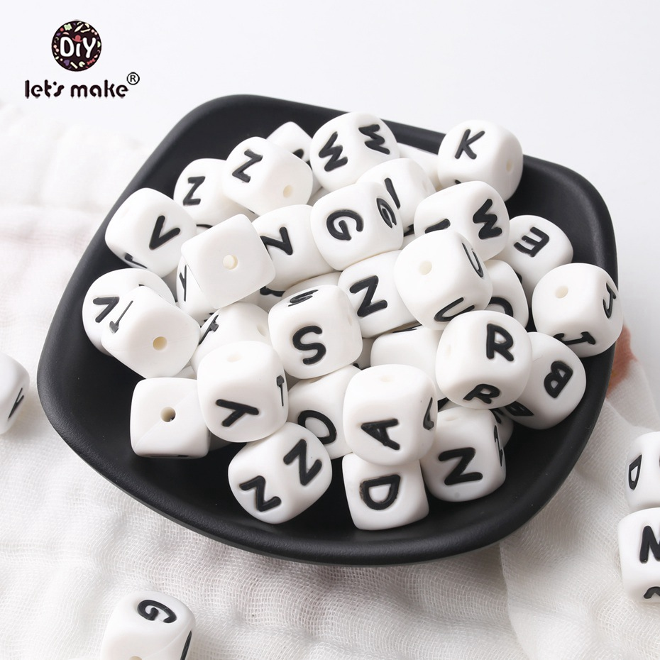 Let's Make 500pcs Alphabet Letters 12mm Food Grade Silicone DIY Teething Necklace 26 Letters BPA Free Silicone Teether Beads