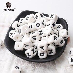 Image 1 - Vamos fazer 500 pçs alfabeto letras 12mm grau alimentício silicone diy dentição colar 26 letras bpa livre silicone mordedor grânulos