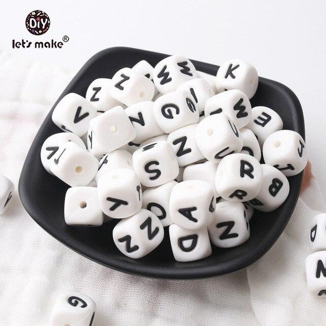 Vamos fazer 500 pçs alfabeto letras 12mm grau alimentício silicone diy dentição colar 26 letras bpa livre silicone mordedor grânulos