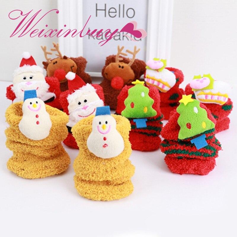 WEIXINBUY Winter Baby Sock Warm Christmas Gifts Stereo Socks Soft Cotton Cute Santa Claus Deer Socks Xmas Christmas Socks