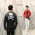 Новый 2016 punk стиль байкер человек Корейский куртка Slim личности парикмахер ночной клуб костюмы заклепки кожаное пальто мотоцикла износа