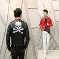 New 2016 punk style biker man Korean Slim jacket personality hairstylist nightclub costumes rivet leather coat motorcycle wear
