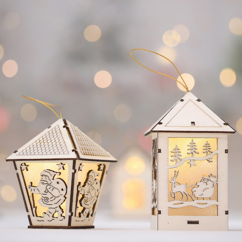 Festival Led Light Wood House Christmas Tree Decorations For Home Hanging Ornaments Holiday Nice Xmas Gift Wedding Navidad 2019