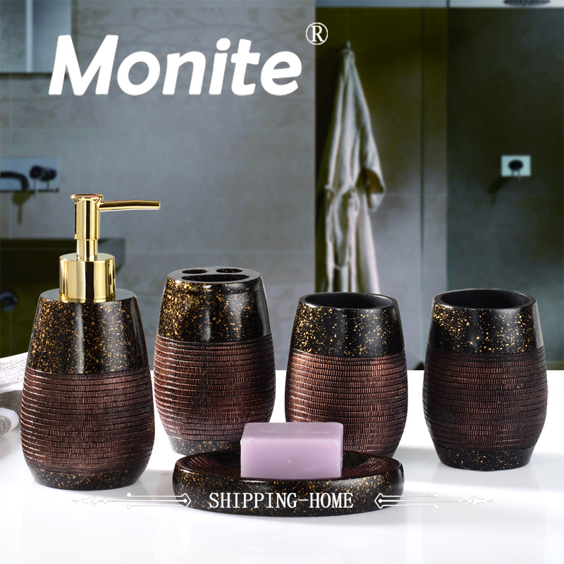 Concise Style Bathroom Set 5Pcs Tooth Brash Holder Soap Dish Dispenser Rince Cup Household 5 sets Bathroom Accessories