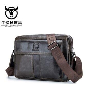 BULLCAPTAIN Men's Briefcase Leather Genuine Men Bag Men Shoulder Bags Men's Crossbody Bag Brand Crossbody bag 3 Color