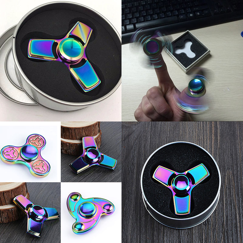 Super Cool Rainbow Triangle Fidget Finger Spinner Hand Focus Spin Aluminum EDC Bearing Stress Toys for