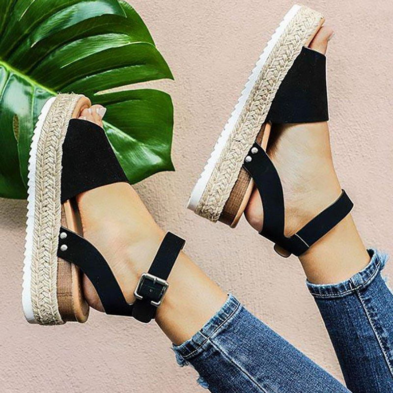 Woman Summer Sandals Shoes Zapatos De Mujer 2019 Casual Women's Rubber Sole Studded   Ankle Strap Open Toe Sandals