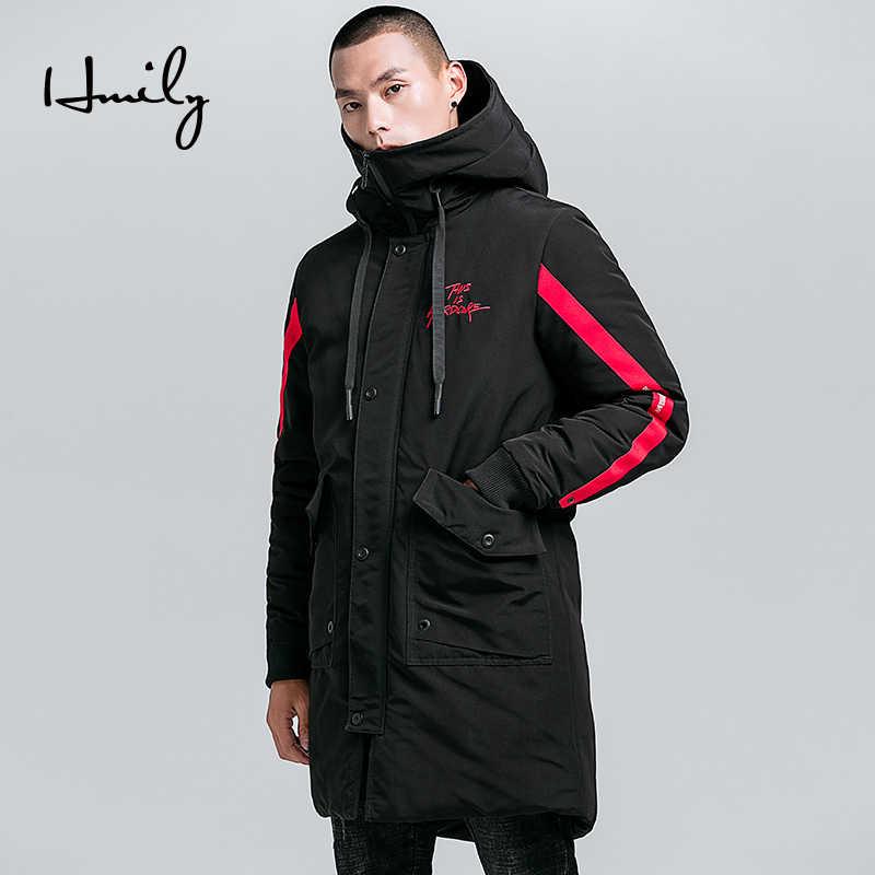 61fabbcec65e HMILY зимняя длинная куртка толстый мужчина Повседневное парки  хлопчатобумажное пальто брендовая мужская одежда с капюшоном теплая