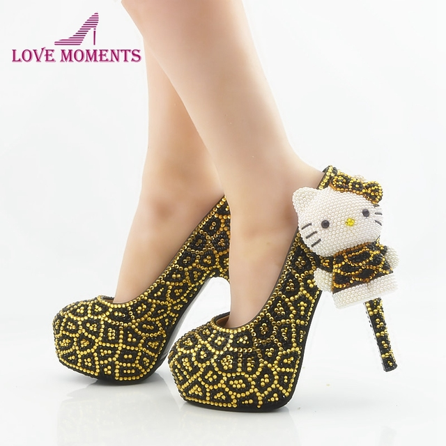 Aliexpress Com Buy Leopard Gold And Black Rhinestone Wedding Shoes
