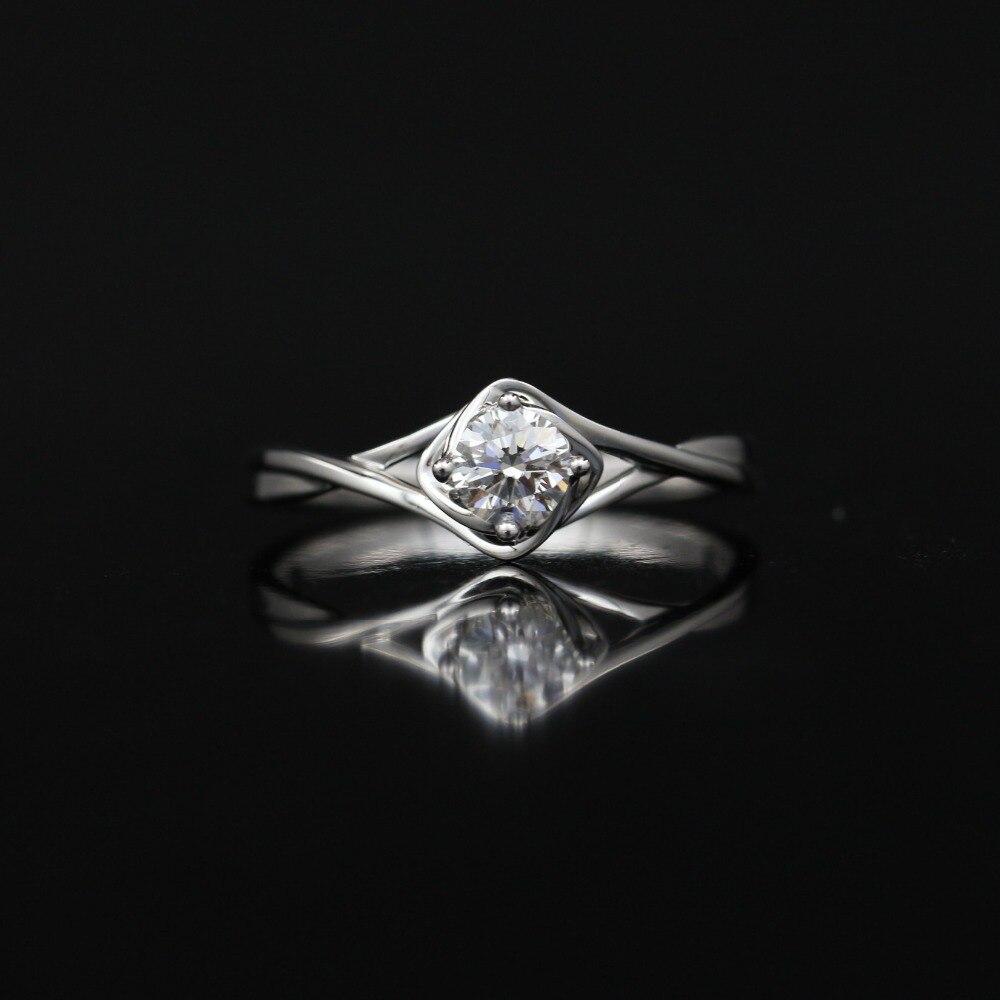 LASAMERO 0.302CT FG/SI Round Cut Modern Romance Natural Diamond Ring For Women 18k White Gold Certified Engagement Wedding Ring цена 2017