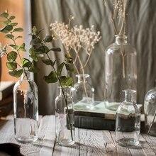 Тонкий рот стеклянная бутылка для хранения минималистичный скандинавский Vogue Прозрачный стол для хранения для кувшина органайзера цветочный контейнер Декор