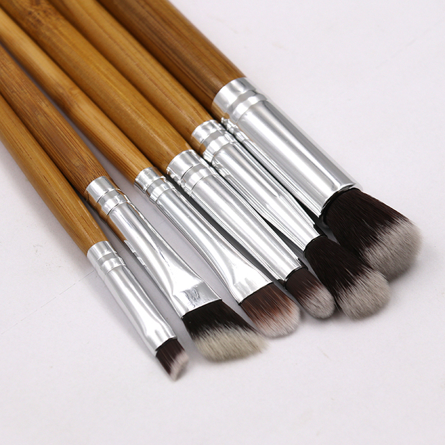 6pcs Bamboo Handle Eye Makeup Brushes Professional Flat Angled Brush Pincel Maquiagem Cosmetics Make Up Brushes Set Hairbrush 4