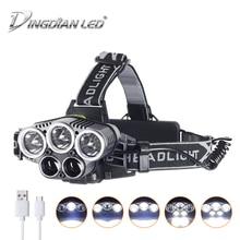 USB Rechargeable LED Headlight 25000lm Headlamp 6 Modes Cree LED Outdoor Flashlight 18650 Battery Camping Lantern Led Head Lamp