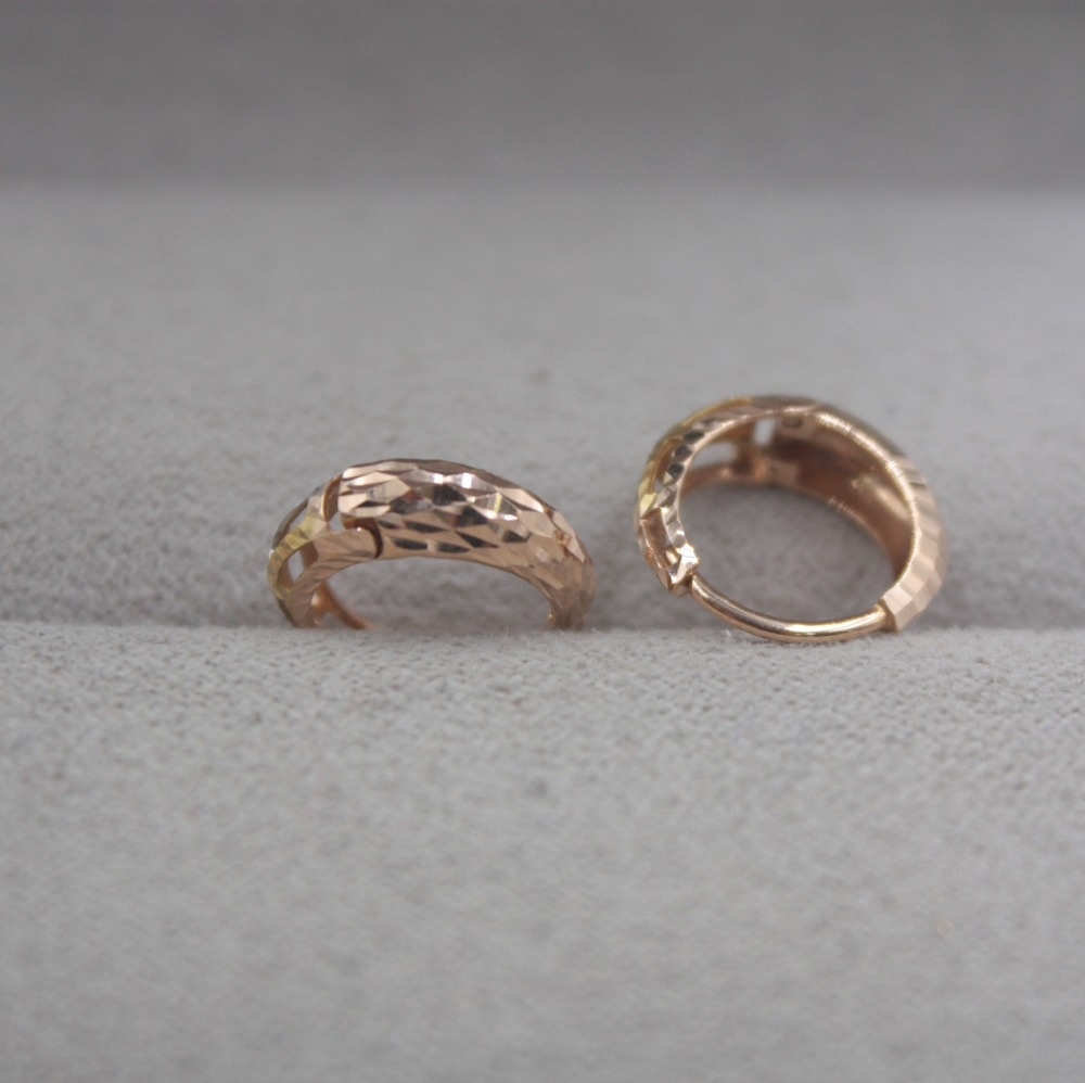Boucles d'oreilles en or pur 18 K multi-tons personnalisé cadeau sculpté boucles d'oreilles mignonnes 1.5-1.8g bijoux de tous les jours mère meilleur cadeau - 2