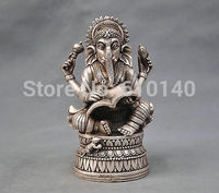 wab7@@0000++7'' China Silver Bronze Buddhism Elephant Ganesha God of Wealth Statue