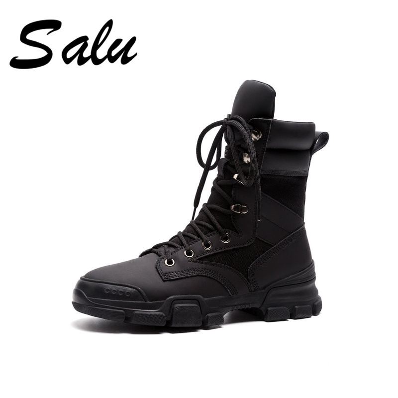 Salu 2018 new Women Ankle Ladies Female Shoes Boots Cow Genuine Leather Plush Winter Fur Lace Up low heel flat salu 2018 new genuine leather women ankle boots lace up sexy women shoes platform flat high heel winter shoes women boots