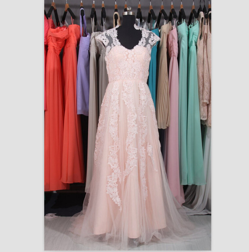Elegant Real Sample Simple 2018 V Neck Robe De Mariage Pink Lace Bridal Gown Vestido De Noiva Vintage long   bridesmaid     dresses