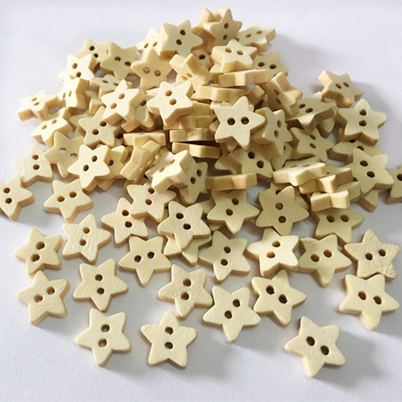 Pentagram Style Decorative Wood Buttons 100pcslot 2 Holes Natural Wood Buttons Sewing DIY Craft Exquisite DIY Accessories