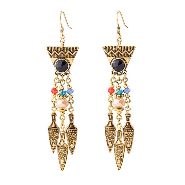 90eda209c7f9 Declaración Europa Mujeres Aretes Largos Perlas de Resina de Estilo Egipcio  Antiguo Oro Color Pendiente de