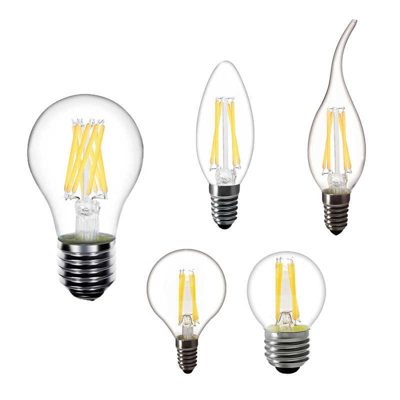 LED Filament Bulb E14 C35 Chandelier LED Bulb E27 A60 Edison Lighting lamp 220V 2W 4W 6W Antique Retro Vintage Glass Bulb Lamp