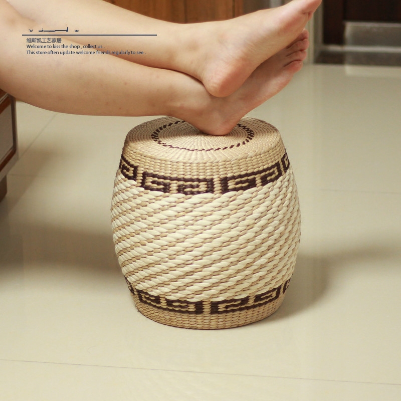 Round Rattan Stool Woven Wicker Seagrass Low Table Foot
