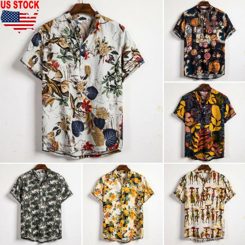 Men Linen Short Sleeve Shirt Summer Floral Loose Baggy Casual Holiday Shirts Tee Tops