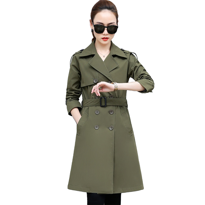 Large Size   Trench   Coat Women Spring Autumn Fashion Solid color Double-breasted Windbreaker Female Casual Tops Plus size 4XL 2529