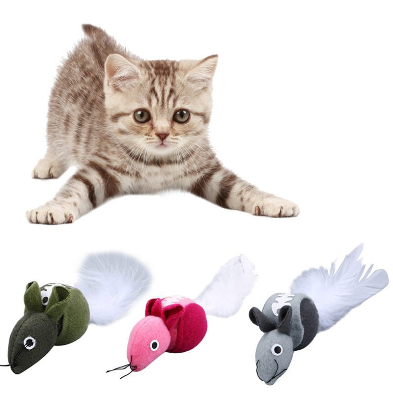 Feather Mouse Pet Cat Toys Mini Funny Playing Toys For Cats Kitten With Catnip toys-for-cats Cat Supplies For Pets Accessories