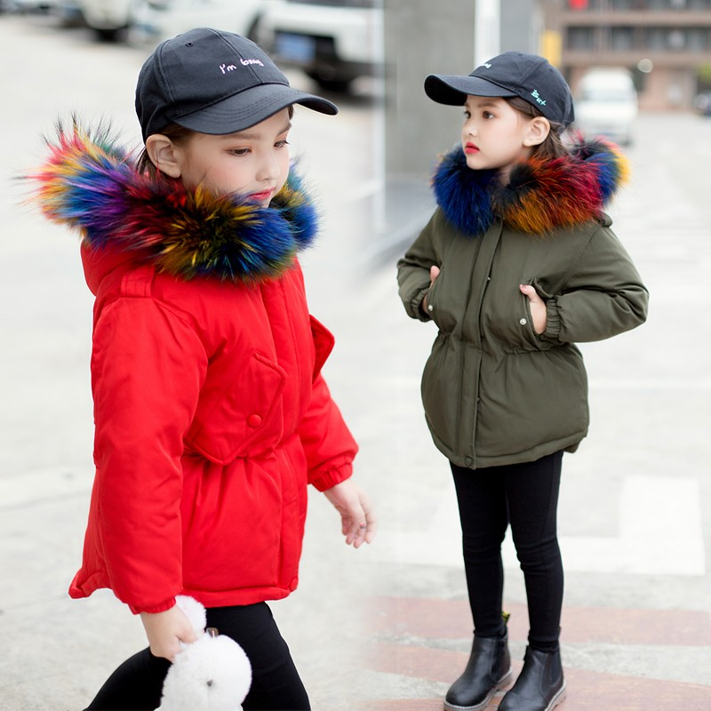 Winter Fashion Medium-Long Winter Coat For Girls Children Clothing Big Girls Thermal Duck Down Jacket With Colorful Fur Hood a15 girls jackets winter 2017 long warm duck down jacket for girl children outerwear jacket coats big girl clothes 10 12 14 year