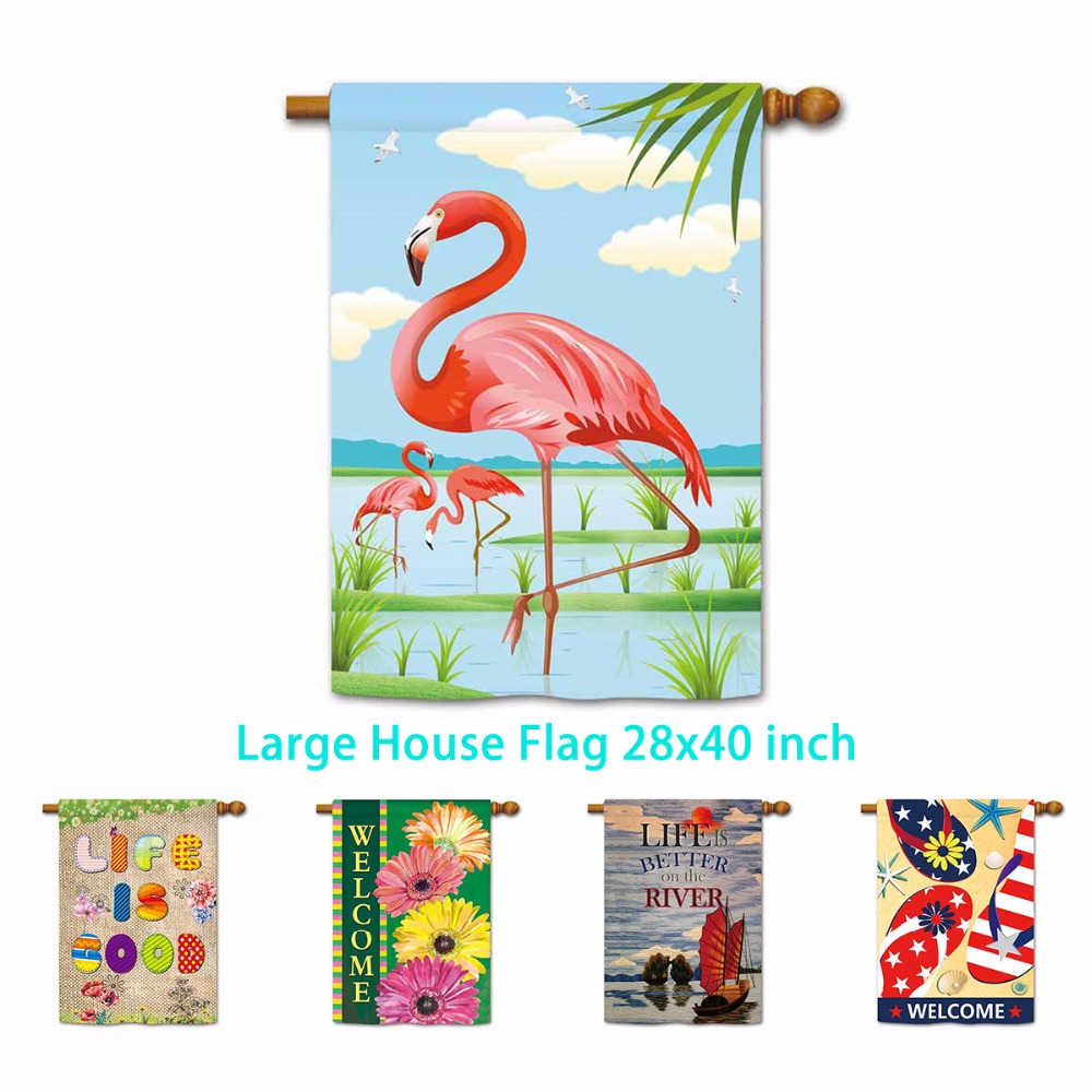 Welcome Summer Flowers American Flag Flipflop Garden Flag Life Is Goood Flamingo Indoor And Outdoor Banner Not Include Pole Flags Banners Accessories Aliexpress
