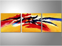 Modern Home Decor Wall Art Pictures Handpainted Abstract Color Inked Oil Paintings on Canvas 3 Piece Painting Yellow Wallpaper