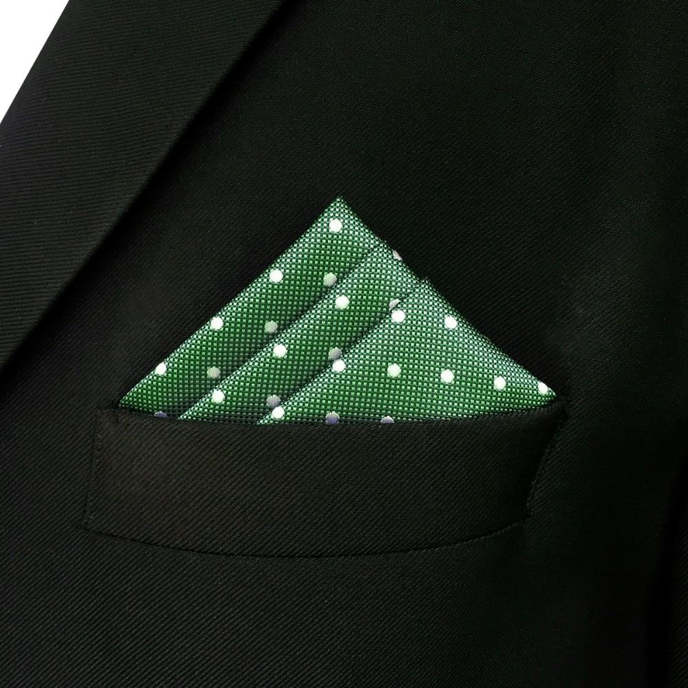 "EH21 Green Dots Mens Pocket Square Handkerchief Hanky Large 12.6"""