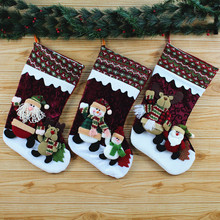 Length about 45cm Christmas Stockings Santa Sack Candy Gifts Bag Xmas Tree Ornaments Home Decoration Toys Festive Supplies