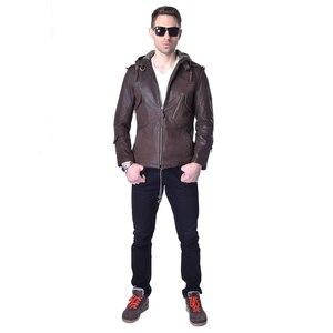 Image 3 - Veste en cuir véritable homme, marque en peau de vache, décontracté, Slim, avec capuche en vrai mouton, pour moto, printemps automne ZH141