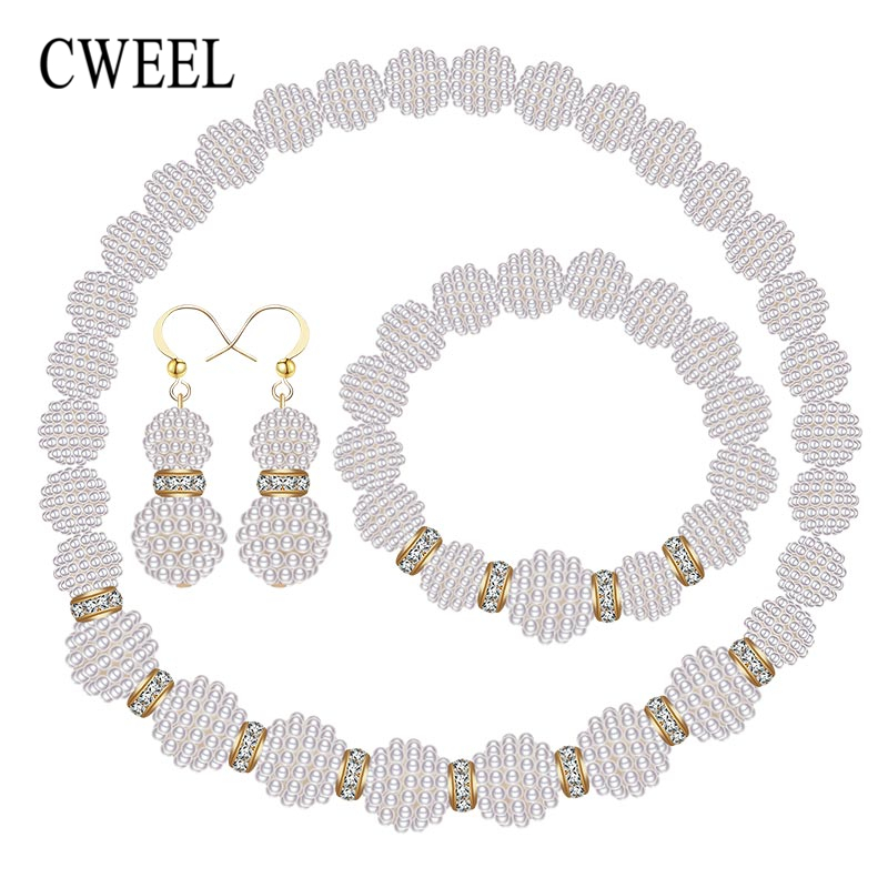 CWEEL Wedding Jewelry Sets For Women Brides African Beads Jewelry Set Simulated-Pearl/Crystal Beaded Gold Color Jewellery Set ...