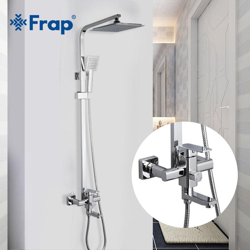 FRAP Torneiras de Chuveiro de alta qualidade banho de chuveiro conjunto misturador para chuveiro do banheiro do cromo torneira torneiras com chuveiro ABS cabeça moderna estilo
