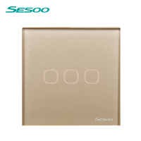 EU UK Standard SESOO Touch Switch 3 Gang 1 Way Crystal Glass Switch Panel Fireproof And