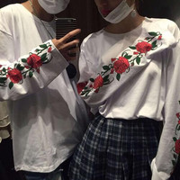 New Personality Spring Autumn Handsome Streetwear Fashion Tops Rose Flower Printed Loose Long Sleeve T Shirt