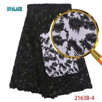 Luxury Lace Fabric Latest African Lace Fabric High Quality Handmade Beads Embroidery Bridal Wedding Lace Fabric PGC2163B-2