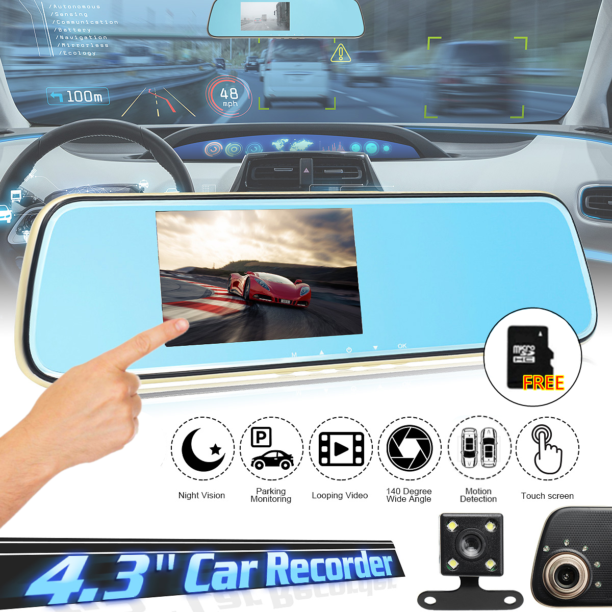 4.3 inch HD 1080P Car DVR Dual Lens Camera Rear View Mirror Video Touch Dash Cam Recorder G-Sensor
