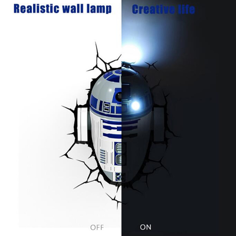 Star Wars: The Force Awakens R2-D2 Darth Vader Anakin Skywalker 3D With LED Light Creative Wall Lamp Wall Sticker Decor S583 стоимость