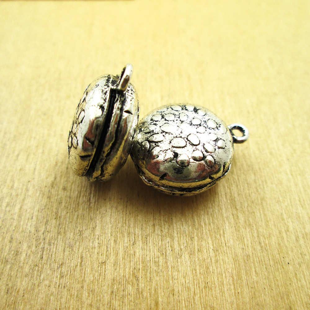 6pcs-- 23*27mm   food charm 3D mini hamburger  charm pendant DIY necklace/ bracelets  charms antique silver tone