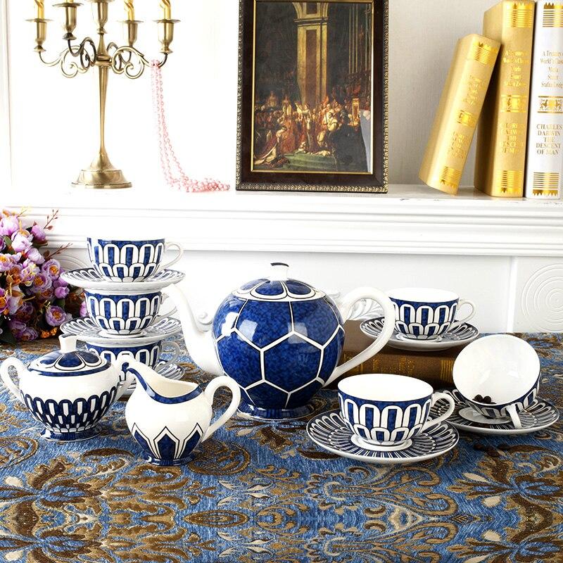 Luxury Bone China Tea Set Blue Coffee Cups Set Ceramic Teapot With Lid Creamer Sugar Bowl