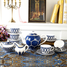 Luxury Bone China Tea Set Blue Coffee Cups Set Ceramic Teapot With Lid Creamer Sugar Bowl Decorative Home Dining Table Ware Gift